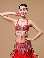 Belly Dance Outfits Women's Performance Cotton / Polyester Beading / Buttons / Crystals/Rhinestones 2 Pieces