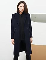 C+IMPRESS Women's Work Sophisticated CoatStriped Peaked Lapel Long Sleeve Winter Blue Wool / Rayon Medium