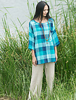 Ramie Cotton Women's Casual/Daily Vintage Summer / Fall Shirt Round Neck  Sleeve Blue Linen Thin