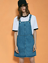 casual / journalier simple denim sangle dresssolid femmes neato ci-dessus sans manches genou coton bleu été