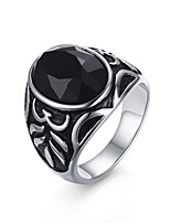 Men's Band Rings Agate Stainless Steel High Polished IP Gold Plating Casual Daily Party Hallowmas(Black)(1Pc)