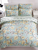 Bedtoppings Comforter Duvet Quilt Cover 4pcs Set Queen Size Flat Sheet Pillowcase Leaf Pattern Prints Microfiber