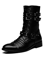 Men's Boots Fashion Boots / Motorcycle Boots Leather Casual Low Heel Rivet / Buckle / Lace-up Black/Hot Sales