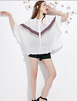 J&D  Women's Going out Cute Summer BlousePrint Round Neck Long Sleeve White Polyester Medium