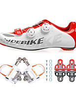 Cycling Shoes Unisex Outdoor / Road Bike 02 Sneakers Damping / Cushioning White / Red-sidebike And White Lock Pedals