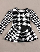 Girl's Casual/Daily Check DressCotton Spring / Fall Black