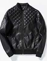 Мужской Хлопок / Полиэстер / Козлиная кожа Куртка На каждый день / Для занятий спортом,Однотонный,Длинный рукав,Черный