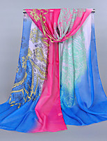 Women's Chiffon Totem Print Scarf Royal Blue/Yellow/Fuchsia/Orange