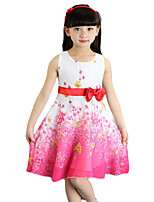 Girl's Going out Solid Dress,Cotton / Others Summer Pink / Purple