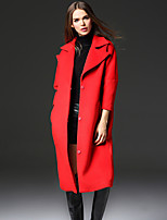 FRMZ  Work Simple CoatSolid Peaked Lapel Long Sleeve Winter Red Faux Fur / Polyester Medium