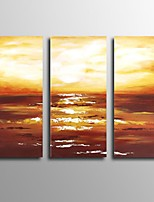 Hand Painted Oil Painting 3 Piece/Set Landscape Beach Sunrise Scenery with Stretched Frame Ready to Hang