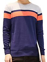 Men's Korean Striped / Color Block Casual / Plus Size Round Neck Warm Leisure Slim Pullover Cotton Long Sleeve M-5XL