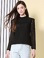 I'HAPPY Women's Going out Vintage Spring / Fall BlouseSolid Crew Neck Long Sleeve Black