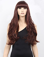 Women's Fashion Burgundy Long Wavy Synthetic Wigs For Women Wig.