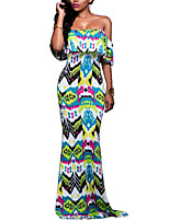 Women's Going out / Party / Club Sexy Swing DressPrint Boat Neck Maxi Short Sleeve Green Polyester Summer