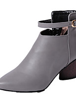 Women's Boots Fall / Winter Motorcycle Boots / Round Toe Dress Chunky Heel Buckle Black / Gray Others