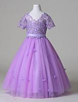 볼 드레스 바닥 길이 플라워 걸 드레스 - 튤 짧은 소매 V-넥 와 레이스