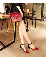 Casual Stiletto Heel Buckle Blue / Red Walking