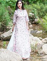 Damen Lose Kleid-Ausgehen Chinoiserie Blumen Ständer Maxi ¾-Arm Rosa Leinen Sommer Mittlere Hüfthöhe Unelastisch Mittel
