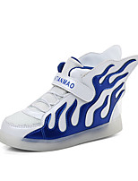 Boy's Sneakers Spring / Fall Comfort Leatherette Athletic Flat Heel Magic Tape / LED Blue / Green / Red / Silver Soccer