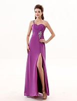 Formal Evening Dress A-line One Shoulder Floor-length Chiffon with Beading / Pleats / Split Front