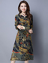 Women's Going out Chinoiserie Loose DressPrint Stand Midi Long Sleeve Red / Green Cotton / Linen