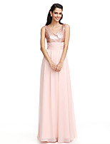 TS Couture® Formal Evening Sheath / Column V-neck Floor-length Chiffon/Sequined With Bow(s)/Ruching/Sequins
