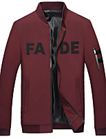 Men's Long Sleeve Casual / Work / Formal / Sport / Plus Size JacketCotton / Polyester Letter Black