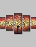 Hand-Painted Lucky Tree 5 Panels Canvas Oil Painting For Home Decoration Ready to Hang
