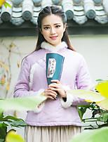 Женский Шинуазери (китайский стиль) На подкладке Женский Пальто,Длинный рукав,Лён / Искусственный шёлк