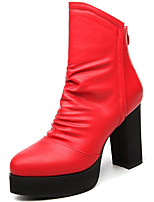 Women's Boots Spring / Fall / Winter Heels / Fashion Boots Fur Party & Evening / Casual Chunky Heel Slip-on Black / Red