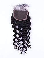 16Inch Hand Tied Deep Wave Lace Closure Unprocessed Hair Remy Human Hair 4*4Swiss Lace