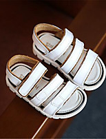 Girl's Sandals Spring / Summer / Fall Sandals PU Outdoor / Casual Flat Heel Bowknot Black / White Walking