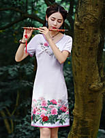 Our Story  Going out Chinoiserie Sheath DressFloral Round Neck Knee-length Short Sleeve Purple Polyester Summer