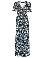 Damen Lose Kleid-Übergröße Boho Druck V-Ausschnitt Maxi Kurzarm Grau Polyester Frühling / Herbst Hohe Hüfthöhe Dehnbar Mittel