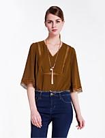 Goelia Women's V Neck 1/2 Length Sleeve Shirt & Blouse Brown-167C3C080