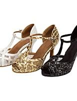 Customizable Women's Dance Shoes Satin Latin / Salsa Sandals / Heels Customized Heel Professional