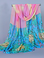 Women's Chiffon Tree Print Scarf Fuchsia/Yellow/Pink/Blue