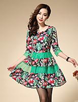 Trapèze Robe Femme Sortie / Grandes Tailles Vintage,Fleur Col Arrondi Au dessus du genou Manches ¾ Vert Autres Printemps Taille Haute
