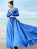 Ramie Cotton Women's Casual/Daily Simple Loose DressSolid V Neck Maxi Long Sleeve Blue / White / Black