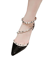 Women's Heels Fall Comfort PU Casual Stiletto Heel Rivet Black / White / Nude Others