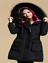 Women's Solid Black Down CoatSexy Hooded Long Sleeve