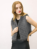 Women's Plus Size / Casual/Daily Street chic Fur CoatStriped V Neck Sleeveless Winter Black Faux Fur Thick