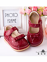 Loafers & Slip-Ons Summer Fall Light Up Shoes Patent Leather Casual Flat Heel Bowknot Red Other
