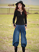 Our Story Women's Embroidered Blue Jeans PantsVintage Spring / Fall