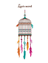 Wall Stickers Wall Decals Style Creative Feather Cage PVC Wall Stickers