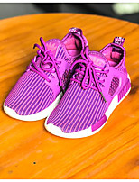 Girl's Sneakers Fall Closed Toe Cotton Athletic Flat Heel Lace-up Blue / Pink / Purple Sneaker