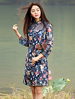 Our Story Women's Going out Chinoiserie Sheath DressPolka Dot / Floral Stand Midi  Sleeve Blue Cotton / Polyester Summer