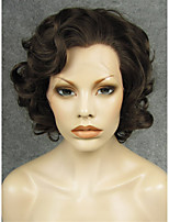 IMSTYLE 10Natural Brown Big Curly Synthetic Lace Front Hair Wig