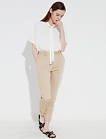 C+IMPRESS Women's Solid Beige Chinos PantsSimple